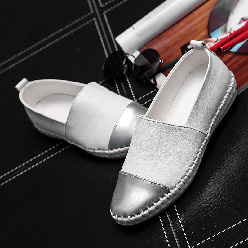 Loafers genuine leather shoes mixed colors slip-on chaussure femme rubber round toe shoes swing shoes woman white/black shoes<br><br>Aliexpress