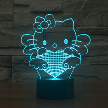 [Seven Neon]free Ship cute hello kitty Acrylic 7Color Changing Desk Lamp 3D Lamp Novelty Led Night Light Millennium Falcon Light(China)