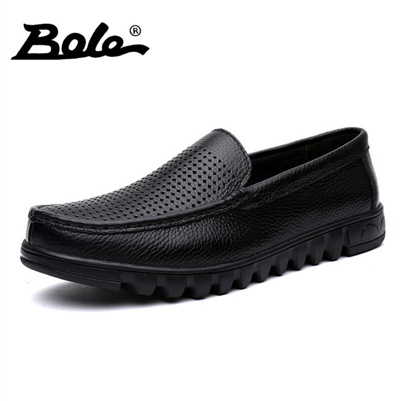BOLE Big Size 37-48 Men Genuine Leather Shoes New Casual Boat Shoes Fashion Slip On Driving Shoes Moccasins Hollow Out Men Flats<br>