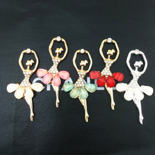 Min.$15 (Mixed Order) 10pcs/lot Cell Phone case DIY Rhinestone Zinc Alloy Ballet Resin Dancing Dress Girl Decoration Charms