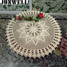 60CM RD Shabby Chic Vintage Crocheted Tablecloth Handmade Crochet Coasters Cotton Lace sofa cover(China)