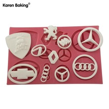 Car Logo Shape 3D Silicone Fondant Cake Mold Tools For Cake Decorating -C496