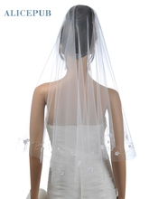 Semi Waltz Length Voile Wedding Veil with Appliques Handmade Bridal Veil Soft Tulle Bride Hair Accessory Free Shipping