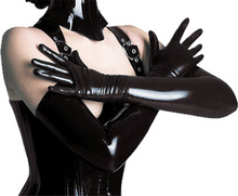 Sexy Women Long Faux Leather Gloves Punk Gloves Sexy Hip-pop Jazz Outfit Mittens Culb Wear Eroticas Lingerie Full Finger(China)