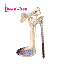 Luxury Gift Jewelry Shining Rose Gold-Color Silver Color with Colorful Rhinestone High-heeled Shoes Brooch Pins For Women