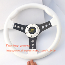 Free Shipping LYJ Motorsport Racing Car Steering Wheel ABS Sport Car Steering Wheel Non-Slip White Color Game Steering Wheel(China)