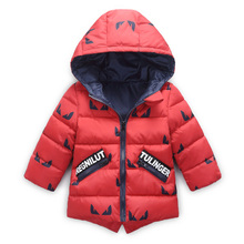 2017 autumn and winter warm baby kids clothes 96% cotton-padded down coat hooded zipper cartoon jacket for girls boys outerwear(China)