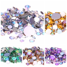 5000pcs 6mm Acrylic DIY Rhinestone AB Colors Flatback Pointed Crystal Nail Art 3D Jewelry Fingernails Decorations Beads(China)