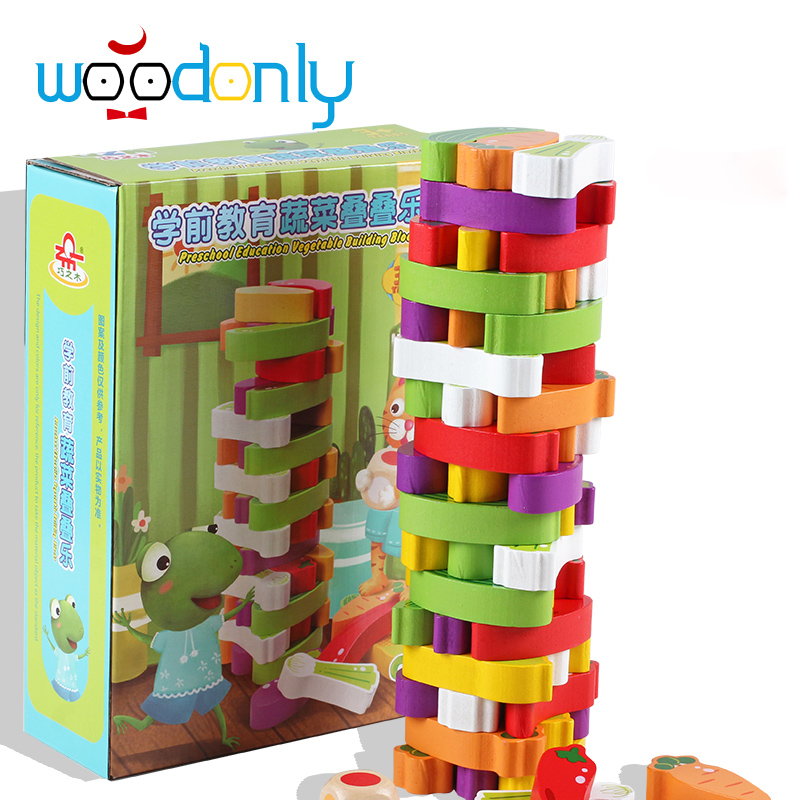 Advanced Wooden Tower digital Blocks Toy vegetables Domino Stacker Extraction  Montessori Educational Jenga family games <br><br>Aliexpress