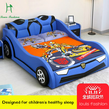 luois fashioChildren's Car Creative Bed 1.2 Meters Single Boy and Girl Cartoon Leather 1.5m with Guardrail Small Wooden(China)