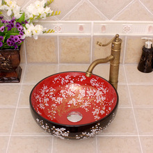flowers and bird pattern Jingdezhen factory directly ceramic hand painted hand bathroom hand painted sinks
