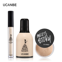 UCANBE Brand 3pcs/lot Base Foundation Makeup Set Natural Moisturizing Foundation Loose Powder Full Coverage Concealer Liquid Kit(China)