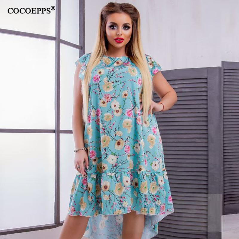 2018 L-6XL Summer Plus Size Women Dress Flower Print Large Size Fashion Dresses Casual Women Clothing Big Sizes Dress Vestidos 45