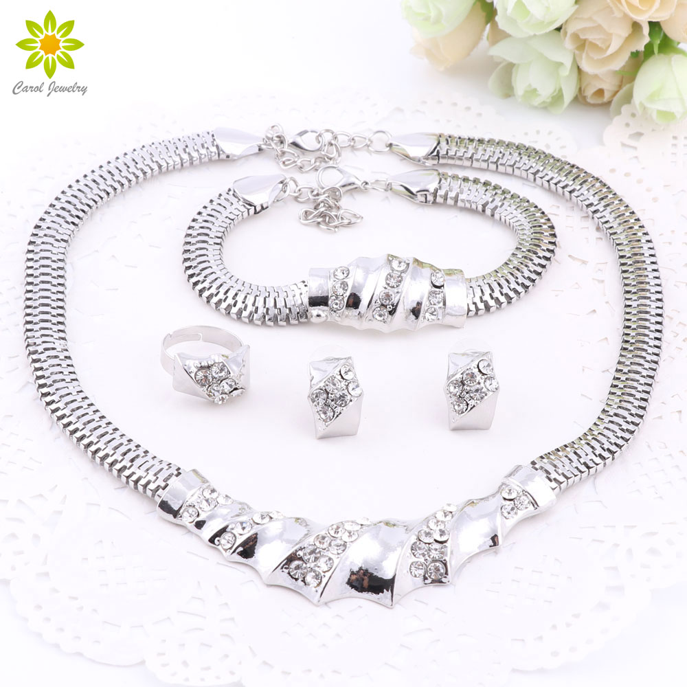 African Silver Plated Charming Fashion Romantic Bridal Fashion Necklace Crystal Vintage Women Costume Jewlery Set(China)