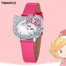 Hello Kitty Watch Fashion Cute Cartoon Watches Baby Clock Kids Lovely Leather Strap Quartz Children wristwatch Relogio Montre