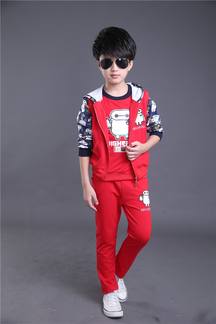 Fashion children sport suit girl and boys red hoodie jacket tops and pants kids red outfits<br><br>Aliexpress
