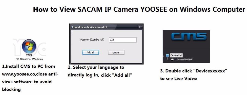 How to view sacam ip camera yoosee on windows computer