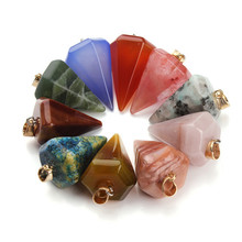 5pc/lot Natural Stone Pendant Bead Opal Created Mixed Quartz Crystal Jewelry Charms for DIY Necklace Craft Making(China)