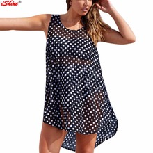 2017 Beach Cover Up Polka Dot Bikini Cover Ups Swimwear Women Robe De Plage Swim Bathing Suit Sleeveless Irregular Chiffon Skirt(China)