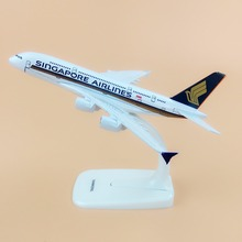 Alloy Metal Air Singapore Airlines A380 Airplane Model Singapore Airbus 380 Airways Plane Model Stand Aircraft Kids Gifts 16cm(China)