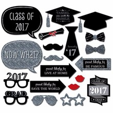 20pcs/set Graduation Party Decoration Photo Booth Props Paperboard Bachelor Cap Certificate Party Photo Props Decor 2017(China)