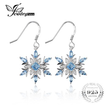 Jewelrypalace 1.4ct genuine swiss topázio azul do floco de neve dangle brincos 925 brinco de prata para as mulheres da moda jóias
