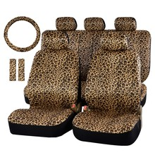"Luxury Leopard Print Car Seat Cover Universal Fit Seat Belt Pads And 15"" Universal Steering Wheel Sedan Seat Protector For Fiat"