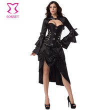3-piece Black Sexy Corset Set Plus Size Corsets And Bustiers Gothic Clothing Victorian Steampunk Dress Burlesque Corset Dresses(China)