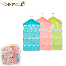DINIWELL Clear 16 Pockets Socks Shoe Toy Underwear Slippers Jewelry Sorting Storage Bag Door Wall Hanging Closet Organizer