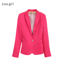 NEW 2017 spring autumn blazer women suit foldable brand jacket made of cotton & spandex Ladies refresh blazers Candy Color top(China)