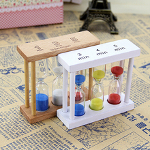 1PCS Simple Style 1/3/5Min Wood Frame Glass Sand Sandglass Hourglass Timer Clock Time Decor Gift 90 x 30 x 87mm