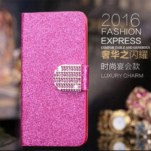 Hot Fashion Luxury PU Flip Leather Case For Sony Xperia Acro S LT26W Glitter Diamond Frosted Cell Phone High Quality Case(China)