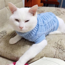 Plain Pet Dog Cat Sweater Flexible Autumn Winter Kitten Clothes Puppy Coat Outdoor Jacket Warm Clothing Costume For Teddy Poodle