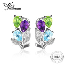 JewelryPalace Multicolor 2.5ct Genuine Amethyst Peridot Blue Topaz Clip On Earrings 925 Sterling Silver For Women 2016 Gift