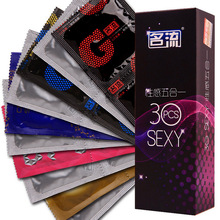 30pcs/box brand 5 in 1 quality spike ribs g spot exciter small Intimate sexy man condoms penis adult sex toy product for men