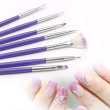 7Pcs Purple Design Nail Brush Polish Painting Dotting Pen Tips Tools Set DIY Professional Nail Art Brushes Nail Art Brush Kit(China)