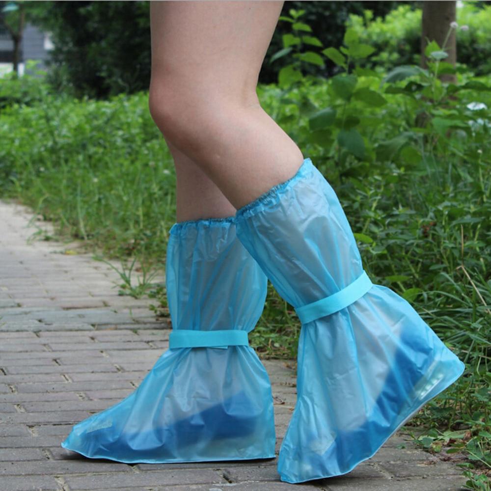 1 Pair Reusable Rain Shoes Cover Women Men Kids Children Thicken Waterproof Boots Cycle Rain Flat Slip-resistant Overshoes
