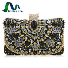 Milisente Women Luxury Evening Bags Wedding Clutch Purse Sister Party Bag Diamonds Silver Gold Black Good Quality(China)