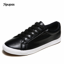 7ipupas 2017 New spring summer Black shoes women Flats white board Colored shoelaces shoes female non-slip casual Walking shoes
