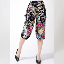 Summer seven pants size cotton loose and casual female flower pants elastic waist cotton pants(China)