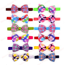 New 100pcs Pet Dog Cat Neck Accessories Plaid style Pet Dog Cat Bowties Grid Dog Cat Ties Bow Tie Pet &Cat Grooming Supplies(China)