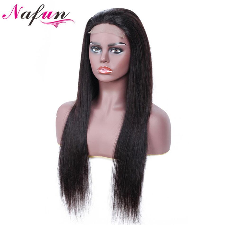 NAFUN Hair Straight Lace Front Human Hair Wigs With Baby Hair Peruvian Human Hair Wigs Natural Color Remy 100% Human Hair Wigs(China)