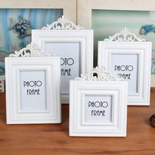 Photo frame white woody Europe Style Fashion Vintage Ornaments Photo Frames Home Accessories photo album wedding decorations(China)