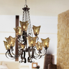 Living room retro glass chandelier 2015 New Arrival Led E27 Lustres Traditional tiffany Chandeliers Suspension Light Fixtures