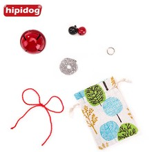 Hipidog Linen Bag with Bells Ring Metal Chain Necklace and Red Rope for Pet Dog Cat Tag Best Gift Matching Engraving Tags