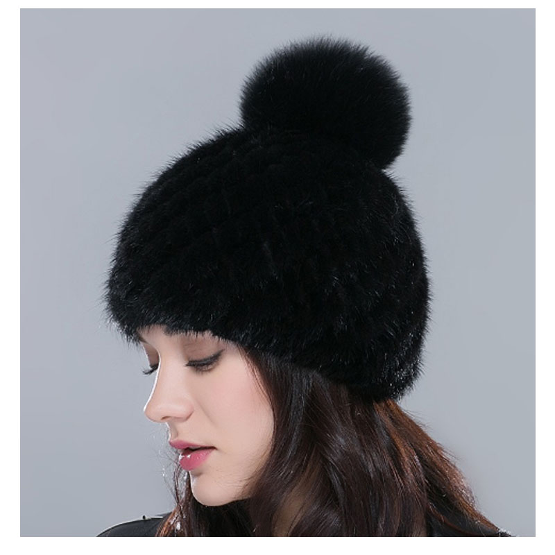 Hot hat sale real mink fur hat for women winter knitted mink fur cap with fox fur pom poms 2017 brand new thick female cap<br><br>Aliexpress