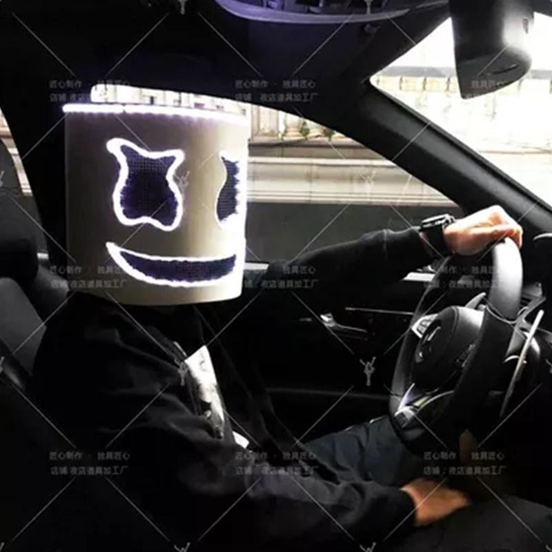 LED Light Marshmello DJ Mask Cosplay Helmet Halloween Prop DJ Masks Party Props Costume Gift toy DIY