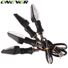 Onever 4Pcs Flashing Motorcycle LED Turn Signal Light High quality 12 Led Indicator Light Dual Color Blue&Amber Blinker Light(China)