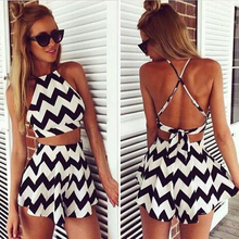 2017 Hot Sexy Crop Top and Skirt Set Striped Skirt Suit Short Skirt Women Suit Set