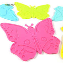 1PC Cute butterfly silicone food mat anti slip heat resistant insulation cup pad food grade silicone placemat LB 315